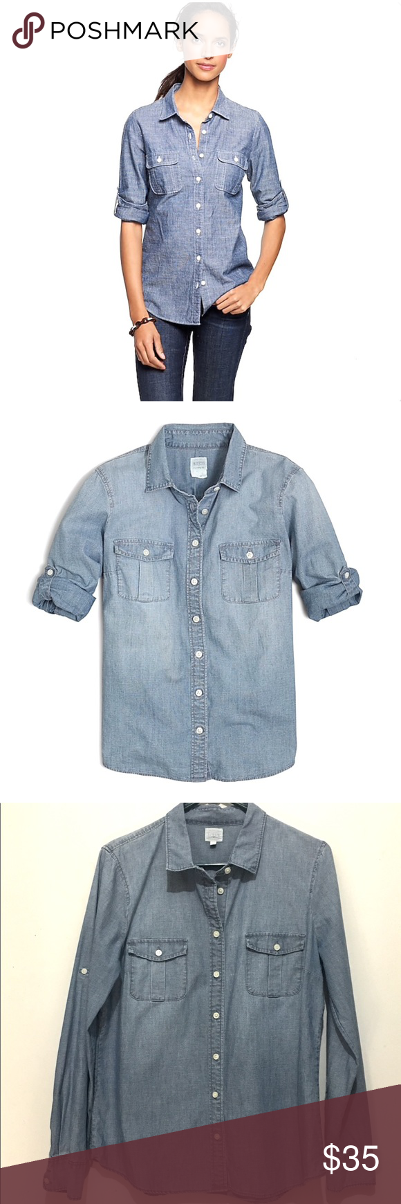 215ce17d J. Crew Factory Perfect Fit Classic Chambray Shirt J. Crew Factory Perfect  Fit Blue Classic Chambray Shirt. Cotton. Long roll-up sleeves with  button-tabs.