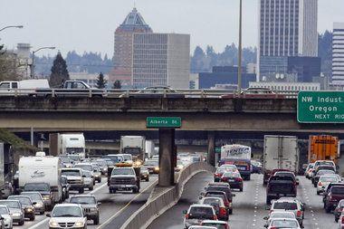 The clinch point where I-84 meets I-5 near downtown Portland.