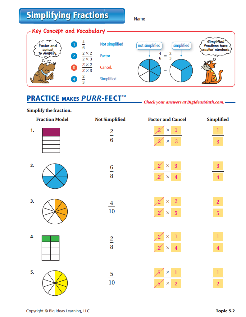 Simplifying Fractions Worksheet Answers Fractions Worksheets Simplifying Fractions Rice Casserole [ 1023 x 792 Pixel ]