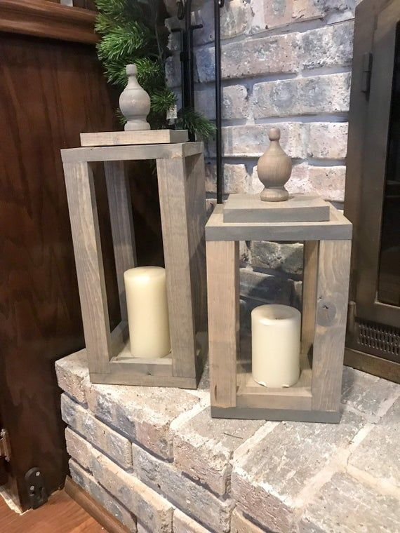 Large gray wood lantern | Handmade | Wooden lantern | Stained wood lantern | Large rustic lantern | Farmhouse Decor | Fire Place Decor #stainedwood