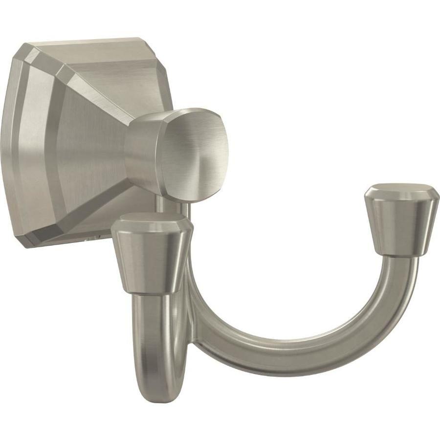 Delta Flynn Double Hook Brushed Nickel Towel Hook Lowes Com Bath Towel Hooks Towel Hooks Brushed Nickel