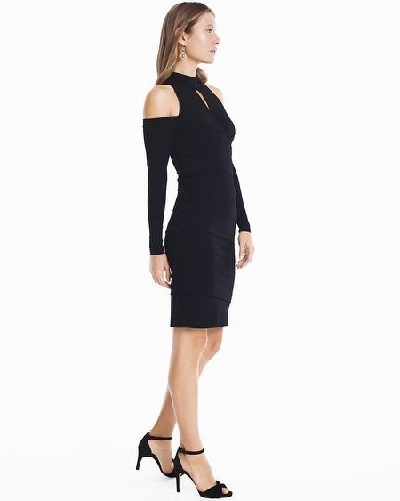 47fdd3092de Women s Long Sleeve Cold Shoulder Black Instantly Slimming Sheath Dress by White  House Black Market