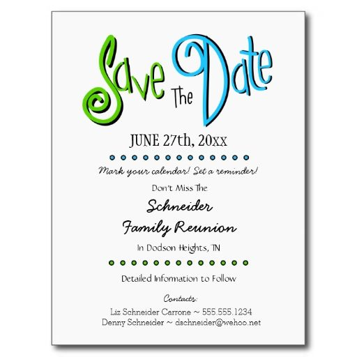 Fun Family Reunion or Party Save the Date Postcard Family - save the date template
