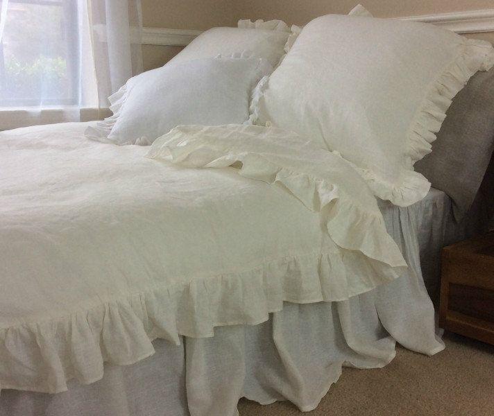 natural linen white ruffle duvet cover, linen bedding, ruffle