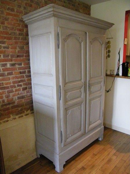 armoire peinte gris patiné MAISON Pinterest Armoires - meuble en bois repeint