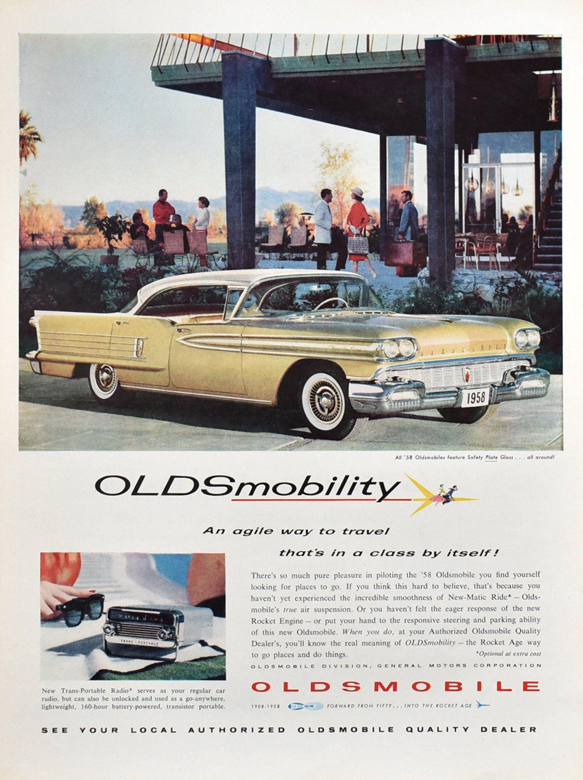 1958 Oldsmobile 2-Door Hardtop Ad – 50s Garage Decor – Gift for Car Buff – Johns Manville Ad