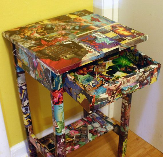 Comic Book Room Ideas: Comic Book Side Table Marvel And DC Comics Decoupaged