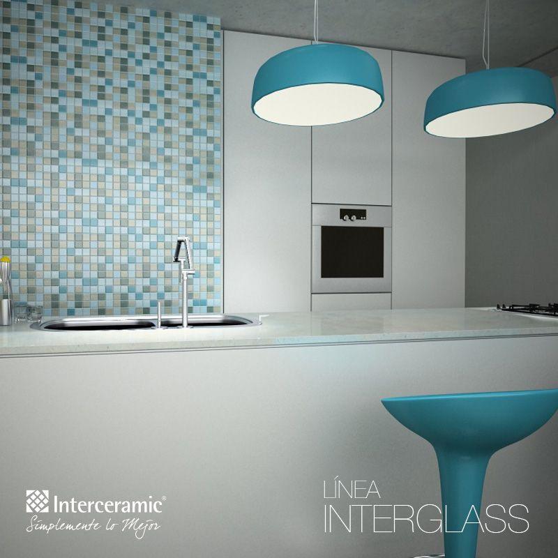 Para dar a tu #cocina un toque de color, instala una #pared de ...