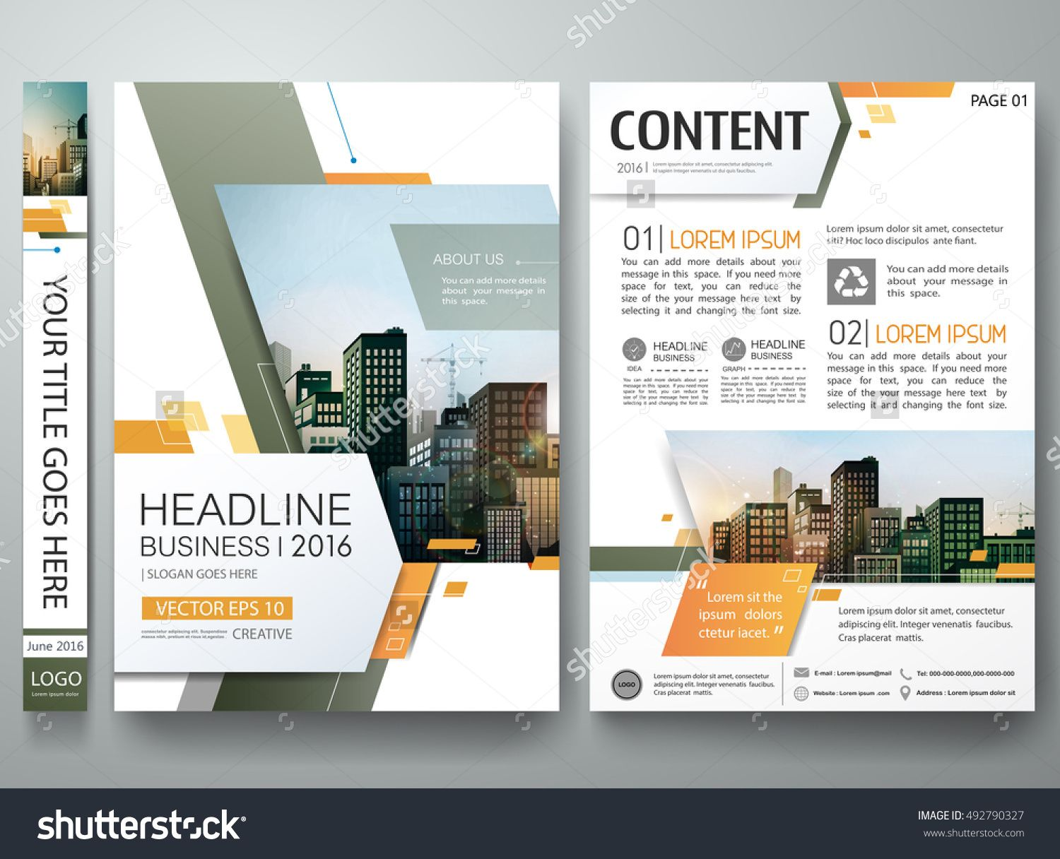 Brochure design template vector. Green abstract minimal square ...