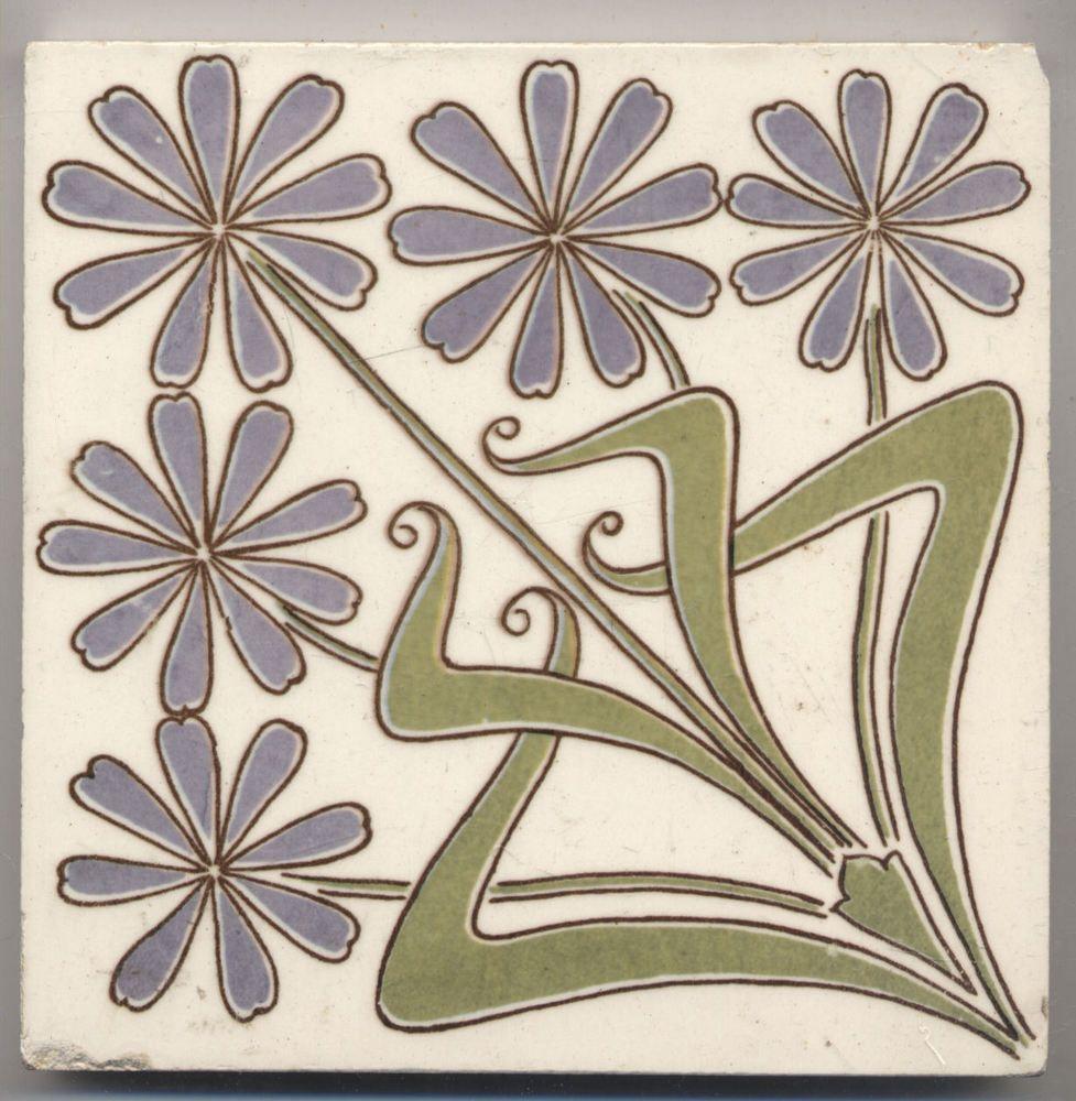 Super rare Villeroy Blumen Jugendstil Fliese art nouveau