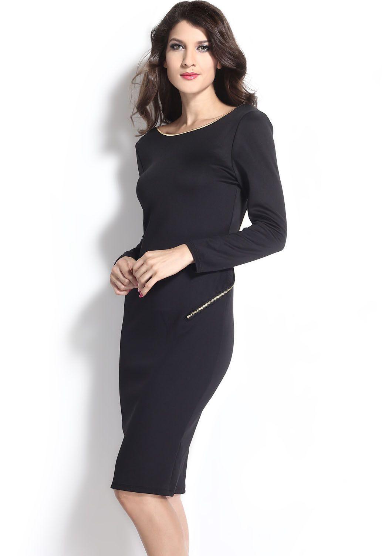 Black Unique Open Back Slim Midi Dress