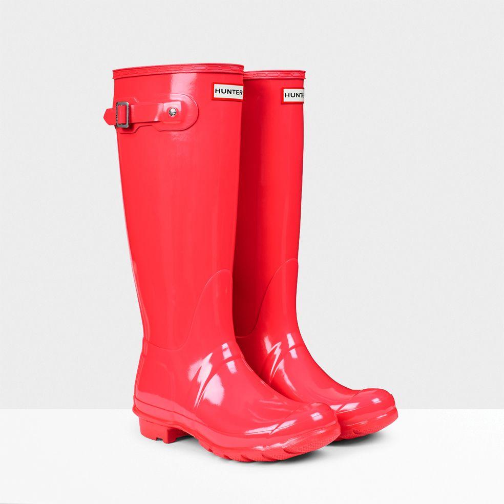 Original Tall Gloss Rain Boots Bright Coral | Hunter Boot ...