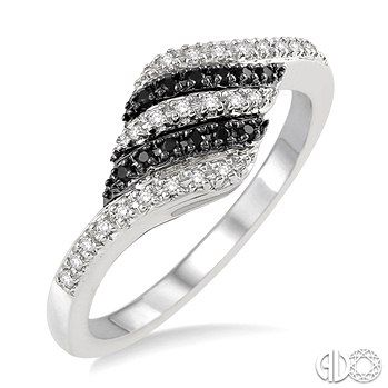 1/5 Ctw White and Black Diamond Ring in 14K White Gold