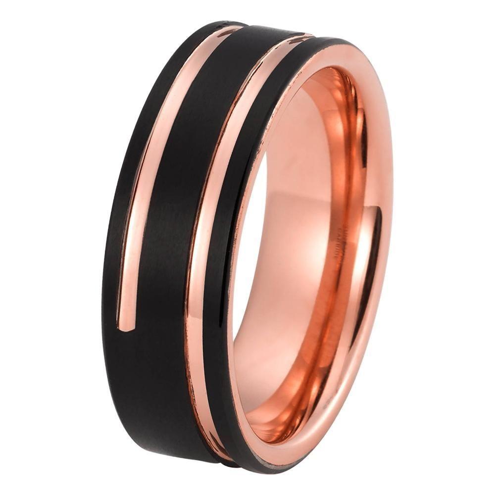 2c6d783a6150e Black Rose Gold Wedding Band Ring Brushed Tungsten Carbide 8mm 18K ...