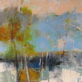 Gold Horizon, 24x24, mixed media by Joan Fullerton