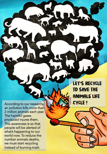 Save Animals Life Cycle Poster Flyer Airpollution Animals Burning Of Trash Recycle Made Using Acrylic Paint A Animal Life Cycles Life Cycles Save Animals