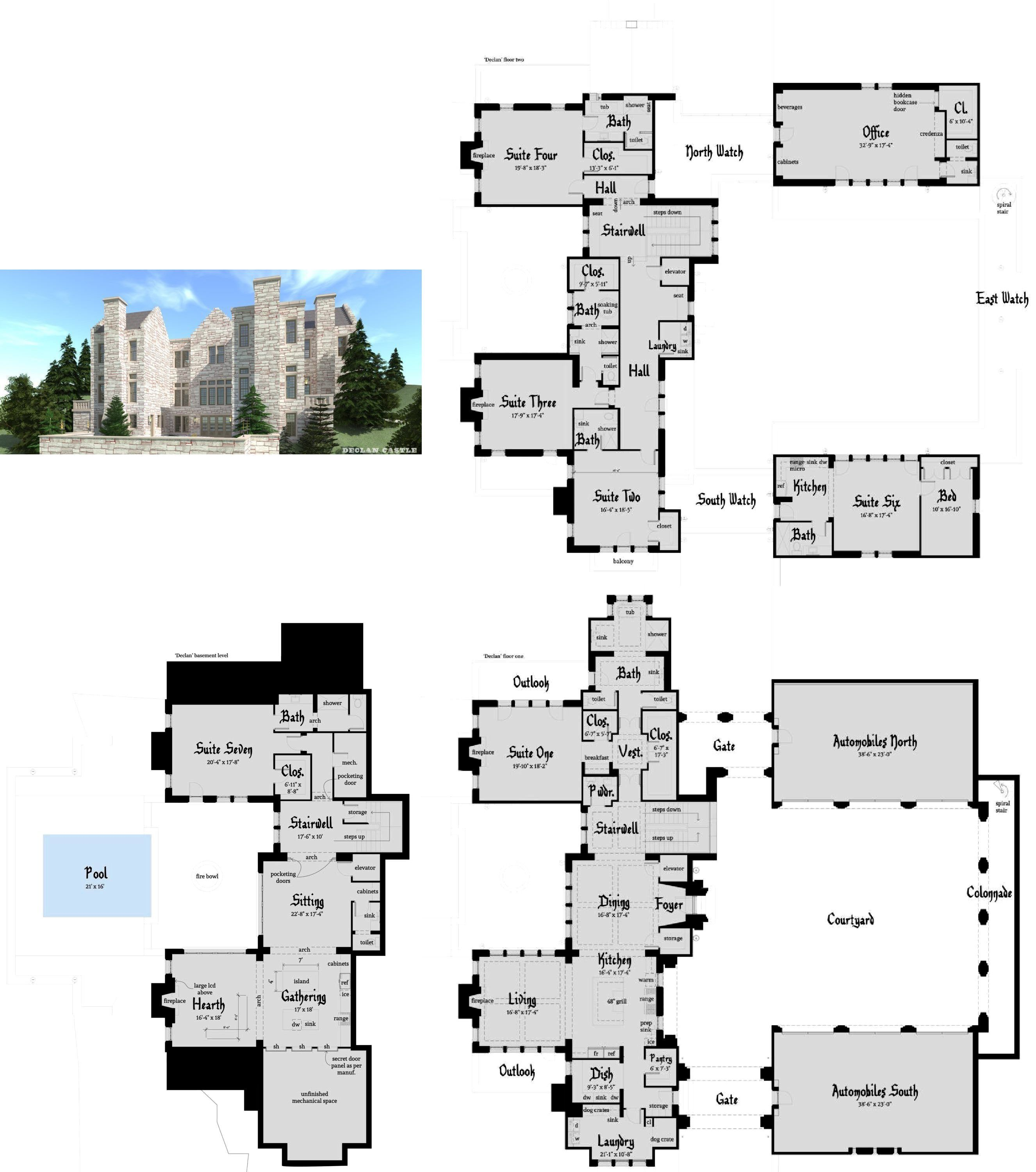 Large Castle Home 6 Car Garage Tyree House Plans Castle House Plans Castle Floor Plan Castle Plans