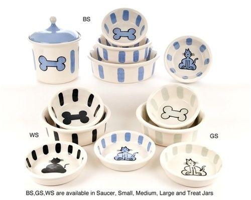 Ceramic Pottery Bone Stripe Bowls by Petware Pottery.