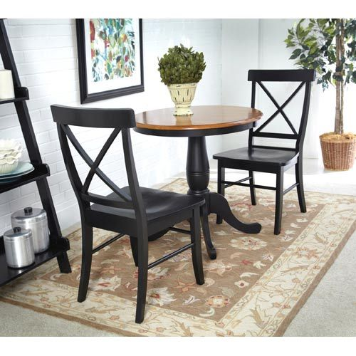 Black And Cherry 30 Inch Pedestal Table With Two X Back Chairs Round Dining Table Dining Table Setting Dining Chair Set