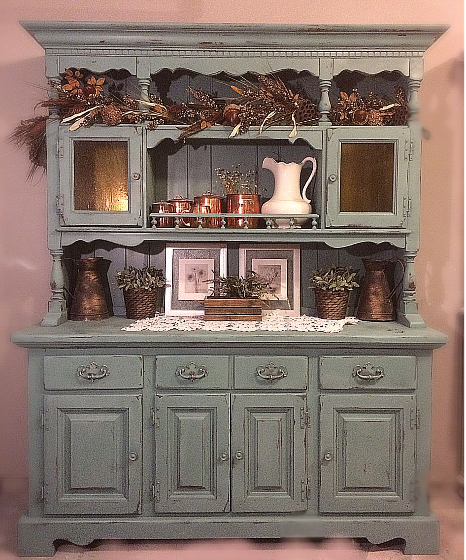 BEAUTIFUL Teal Light Blue Vintage Rustic Hutch Dining Room