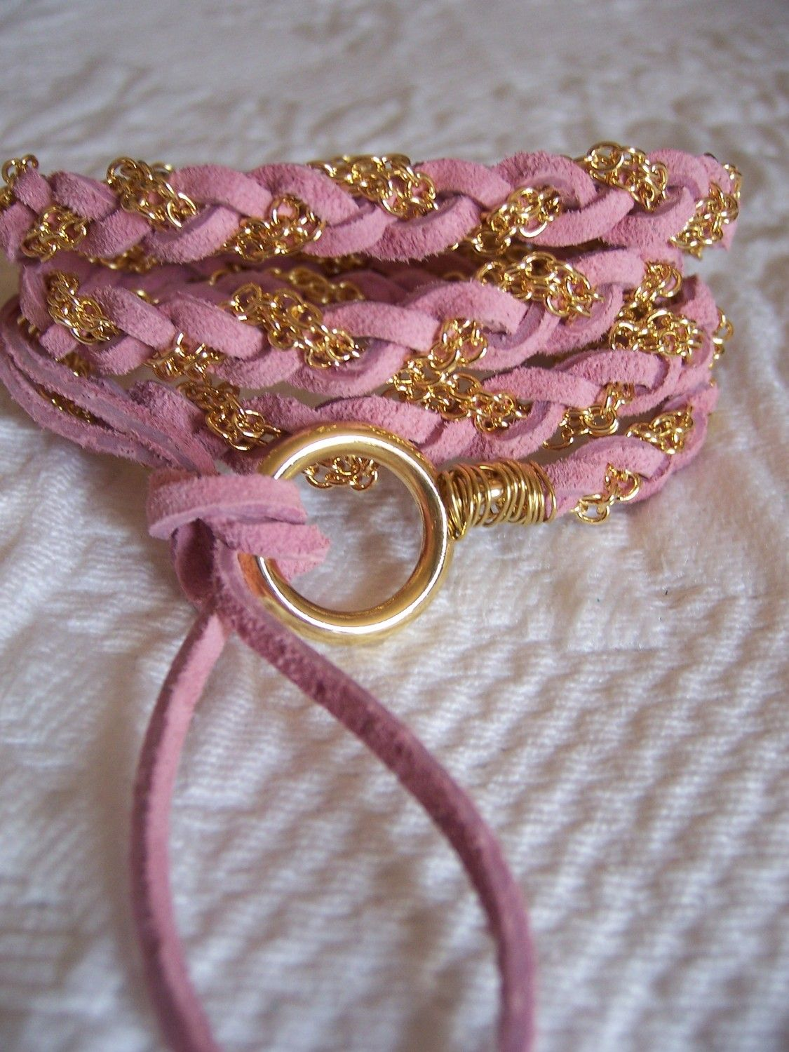 Pretty in Pink Blush Soft Suede Leather Wrap by sandinthesky, $27.00