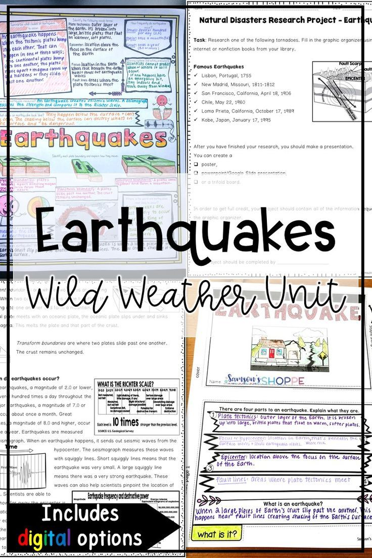 Earthquake Natural Disaster Unit with Nonfiction Article