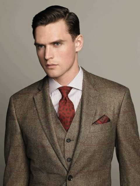 Smart looking three piece tweed suit. | Fashionably Late