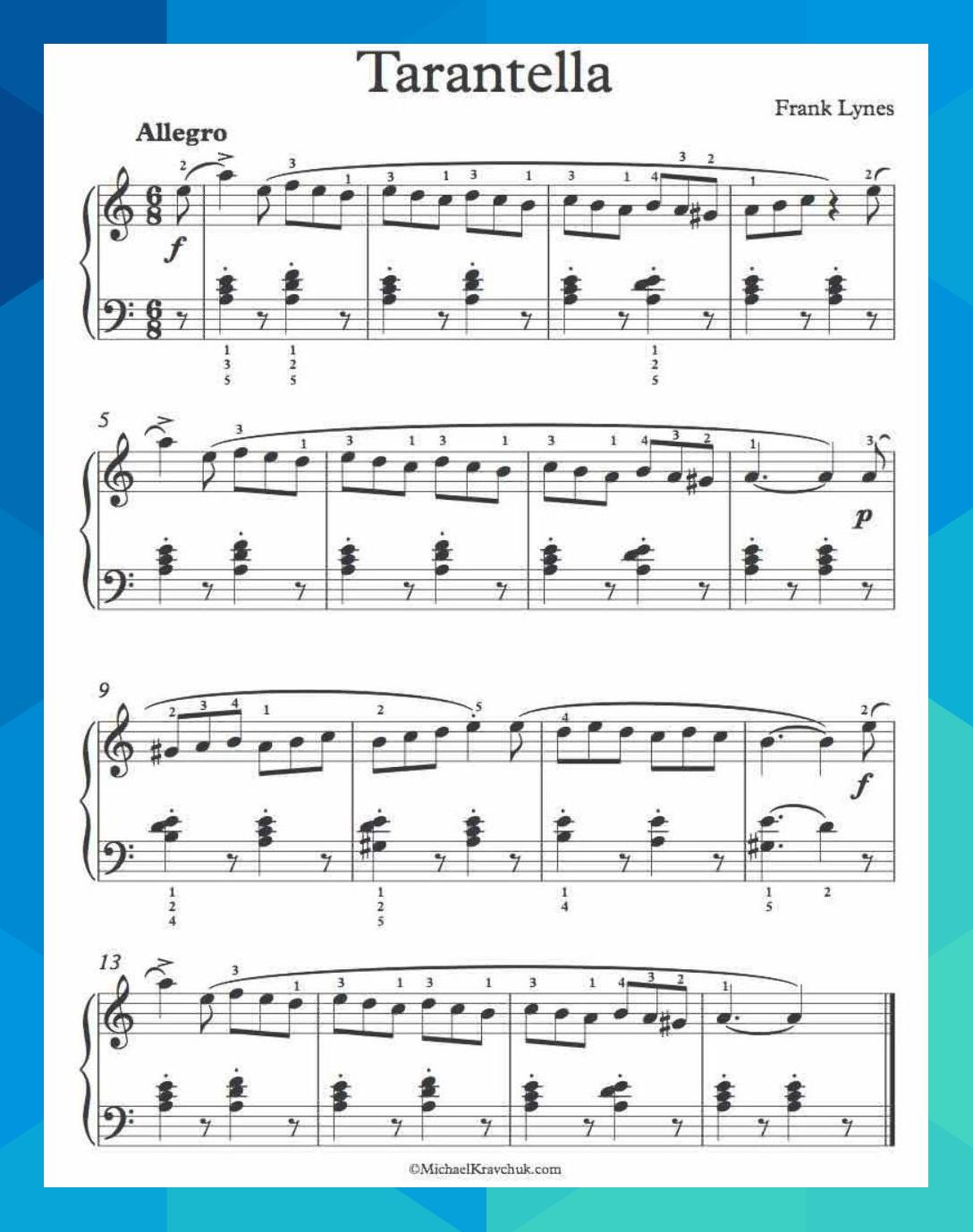 Free Piano Sheet Music Tarantella Op 14 No 8 Frank