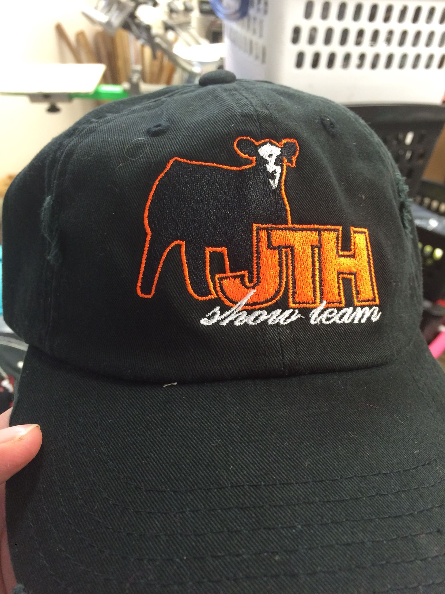 a21e8a85263ea5 Show cattle custom caps. This one with a fantastic logo from Mittag design.