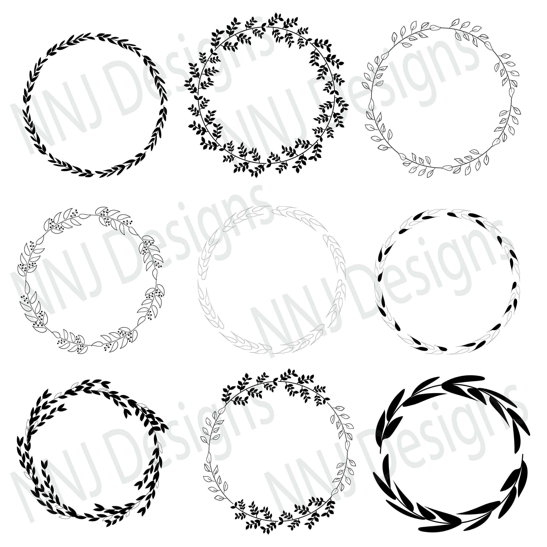 Laurel Wreath Svg Bundle Round Circle Monogram Frame Leaves Etsy In 2021 Floral Wreath Drawing Monogram Frame Circle Monogram