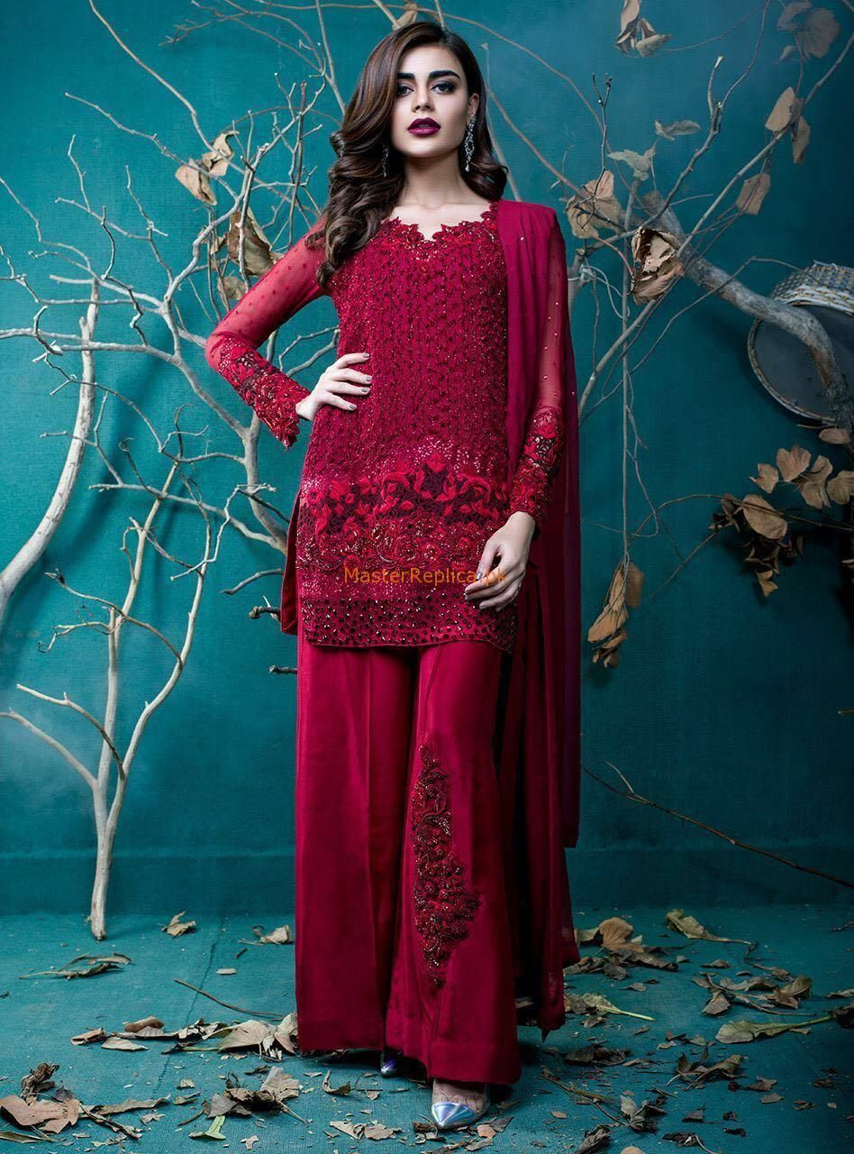 ZAINAB CHOTTANI Luxury Flamenco Red Embroidered Chiffon