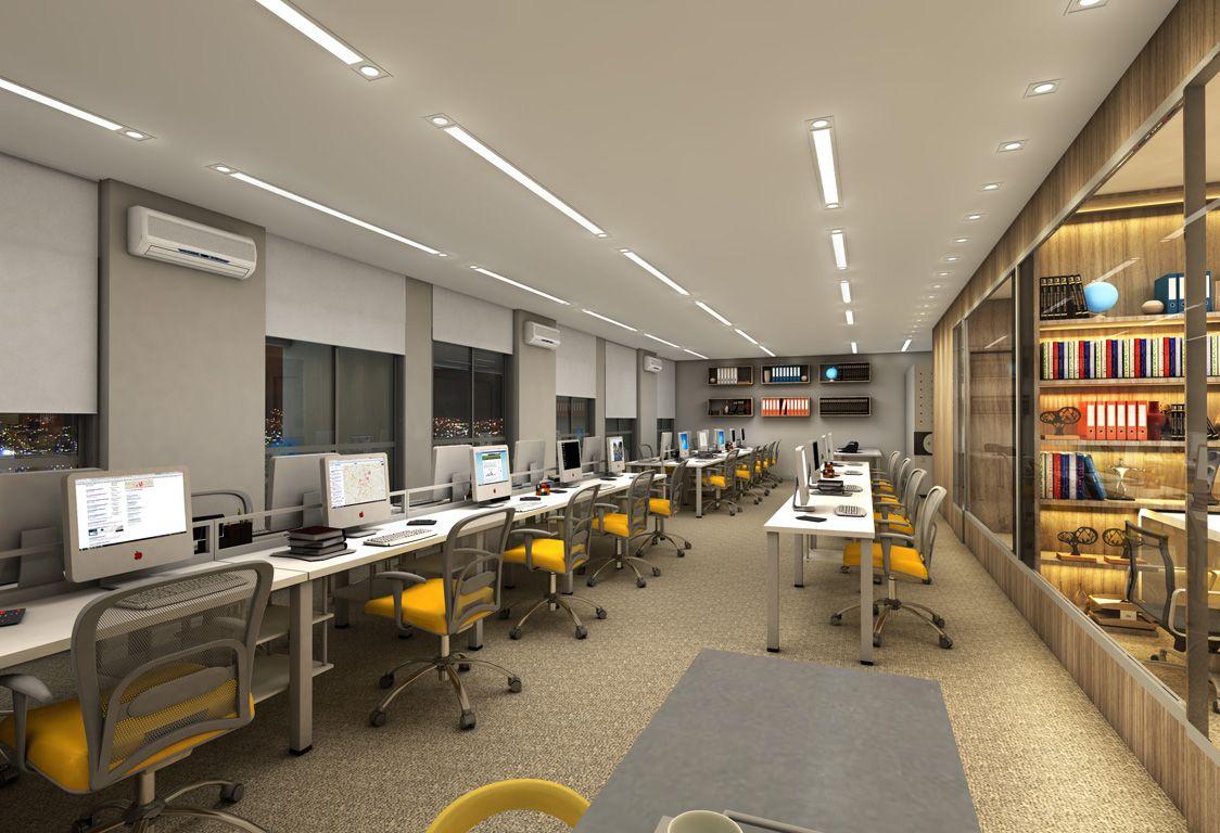 Ambiente Corporativo Escrit Rio Empresarial Estilo Industrial  -> Parede Divisoria Sala