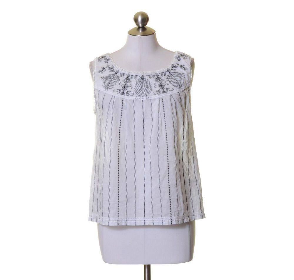Gianni Bini White Dark Gray Embroidered Cotton Tank Top Size 4