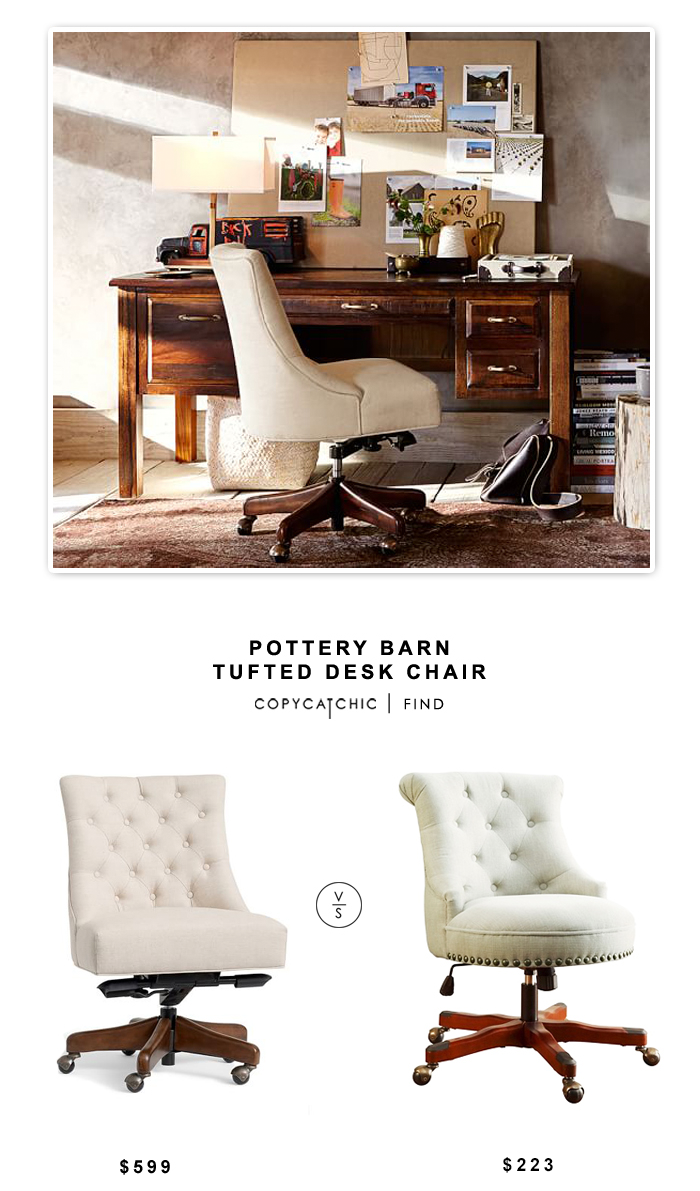 Pottery Barn Tufted Desk Chair Tufted desk chair, Home