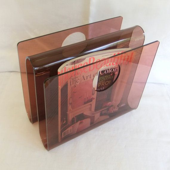 Vintage Acrylic Lucite Magazine Rack Or Vinyl By Venerablepastiche