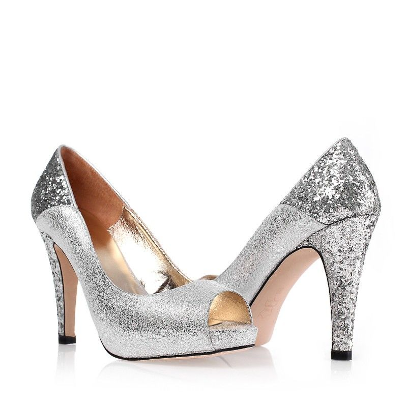 Gorgeous Comfortable Metallic Silver Sequin Brides Dress Shoes ...