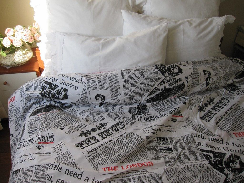 Twin Xl Duvet Cover Dorm Bedding Newspaper Print Book Bedding