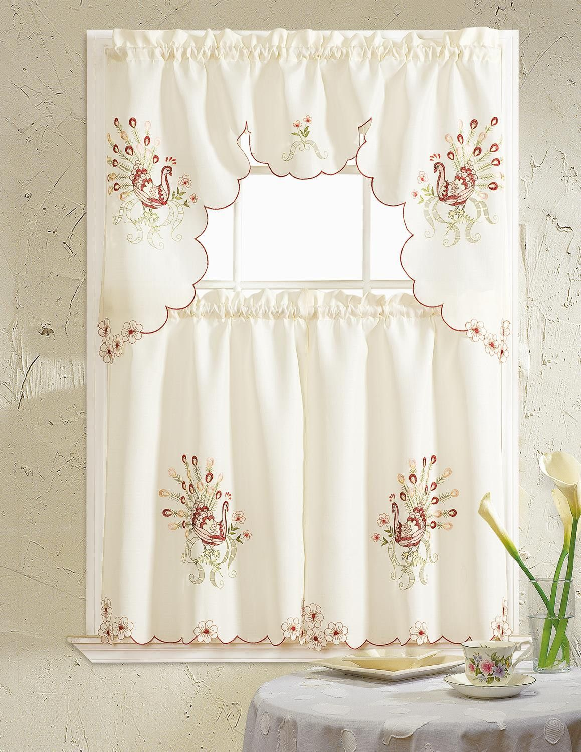 Peacock Embroidered Ruffle Kitchen Curtain Set Swag