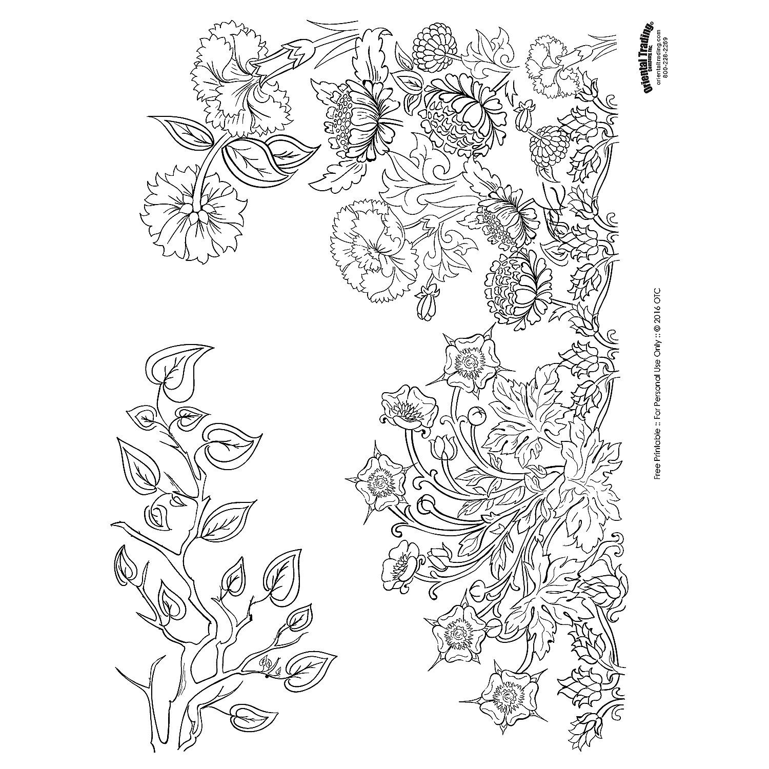 Free printable adult coloring pages for Oriental Trading