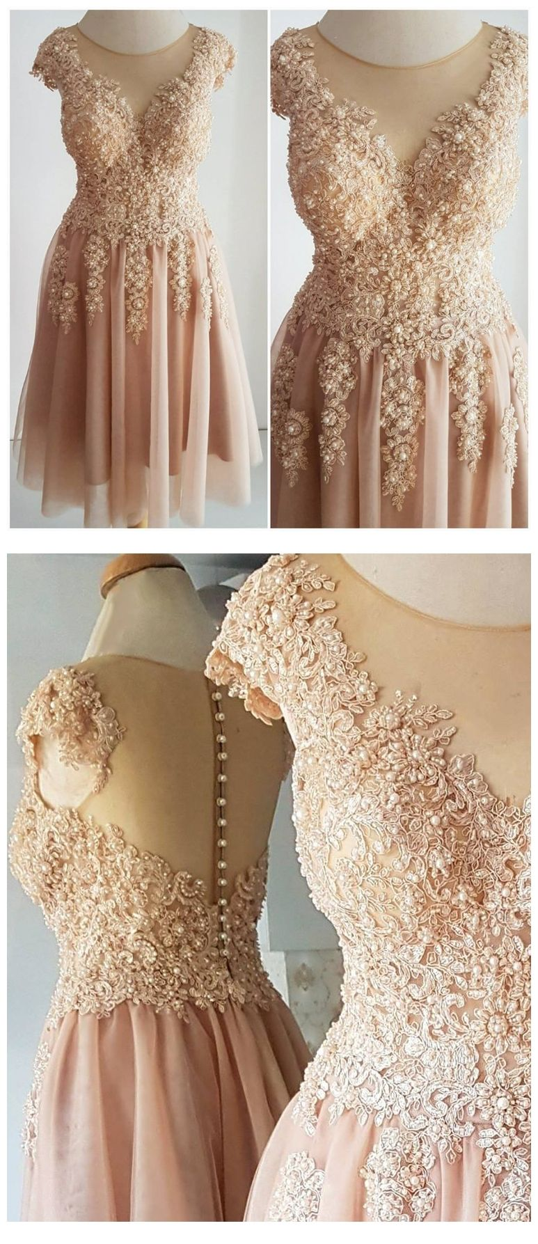 A line short chiffon prom dresses beaded lace cute homecoming