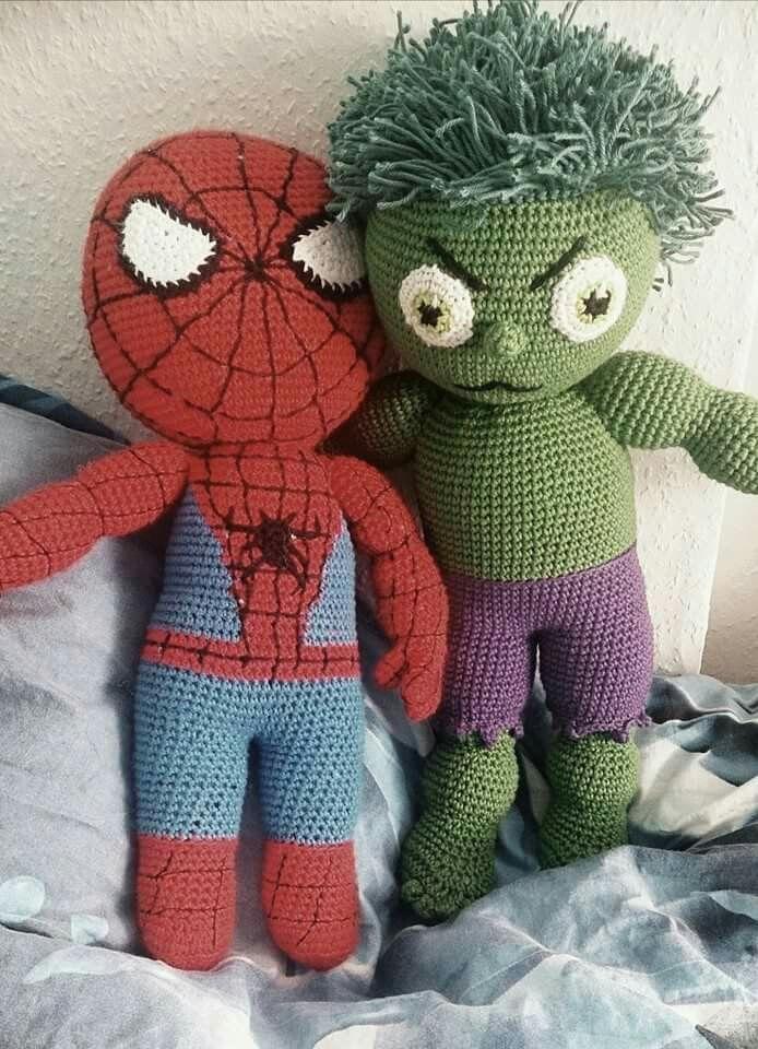 Crochet spiderman and hulk | crocheted | Pinterest | Häkeln und Stricken