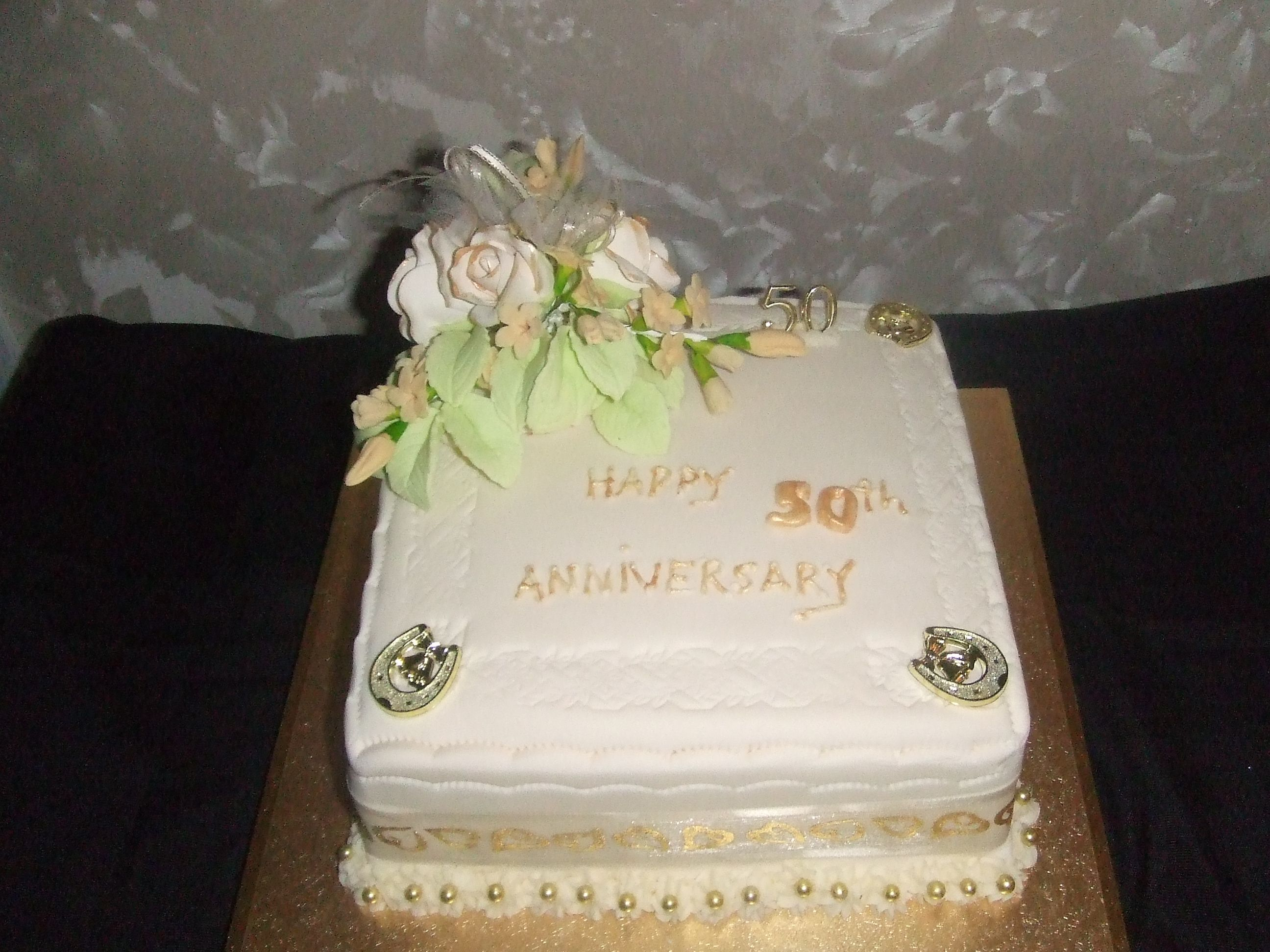 A recent 50th golden wedding cake for a local client who only