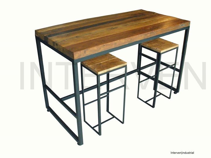 Mesa alta con reposa pies y patas regulables interven for Bar de madera y fierro