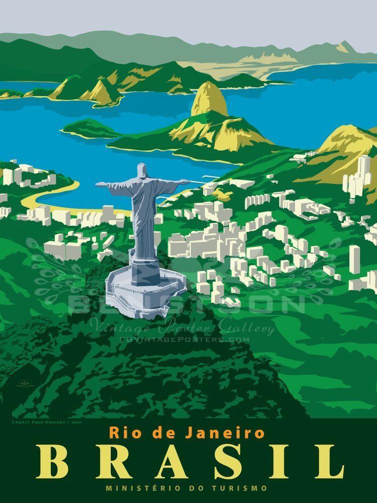 Rio De Janeiro Brazil Posteres De Viagem Art Deco Posters