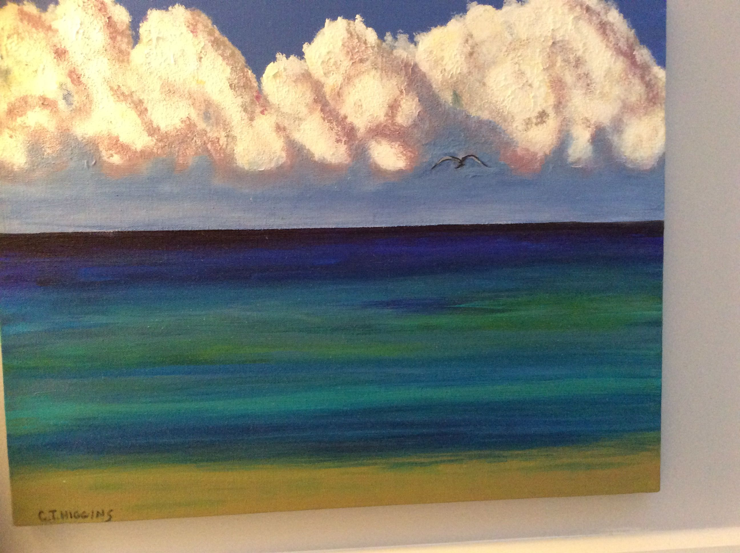 My Cayman life in acrylic...Perfect snorkelling day! I painted this of 7 mile beach.