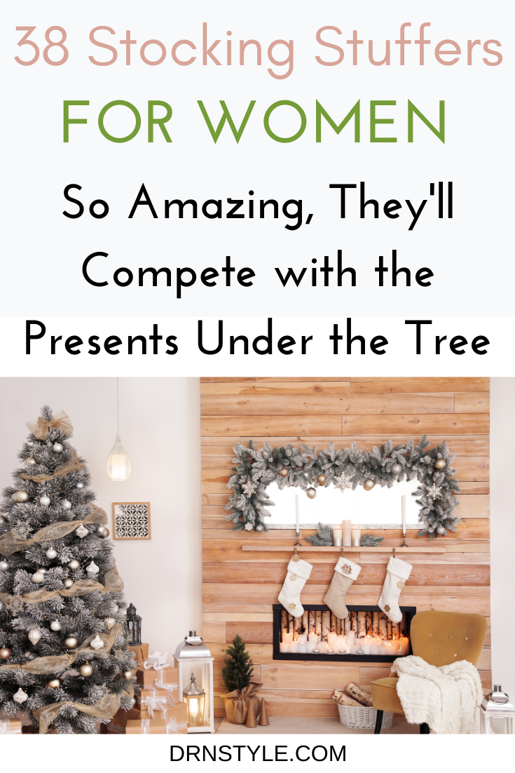 Give her a stocking overflowing with small but awesome gifts she'll enjoy Christmas Day and beyond. Use these 38 awesome gifts as unique stocking stuffers for mom, your wife, girlfriend, or grandma. Don't forget to add these to your shopping list! Which one will she love the most? #stockingstuffers #inexpensivestockingstuffers #holidaygifts #gifts #foradults #giftideas #christmasgiftideas #giftsforfriends #giftsforher #giftguide