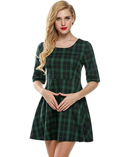Meaneor Womens Half Sleeves Green Plaid Hight Waist Casual Swing Mini Dress  Green S     You can get more details by clicking on the image. e10b17ad1