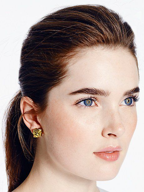 6b44aa29c8177 Kate Spade Small Square Studs, Gold Glitter   Products in 2019 ...