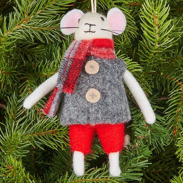 buyjohn lewis grand tour christmas mouse tree decoration grey online at johnlewiscom - Christmas Mouse Decorations