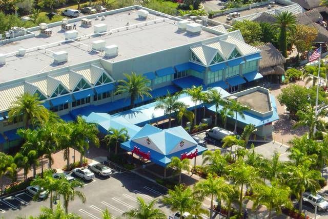 Aerial Shot Of Commercial Awnings And Canopies At Dockmaster And Marina Office Complex Of Monty S Raw Bar In Coconut Grove F Coconut Grove Awning House Styles